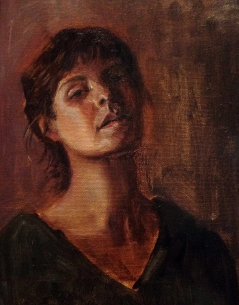 """Andromeda"" Expression Study, oil on canvas, 2016 8x10"""