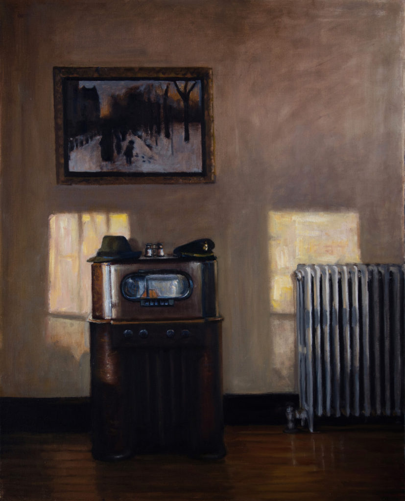 Boston Public Radio, oil on canvas, 2016 22x28""